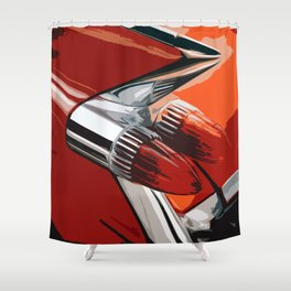 Classic Red Car with Chrome Bullet Lights Shower Curtain