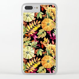 Watercolor leaves, pumpkins, sunflower. Clear iPhone Case