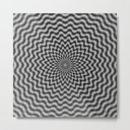 Circular Wave in Monochrome Metal Print
