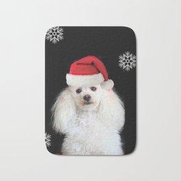 Christmas poodle dog Bath Mat