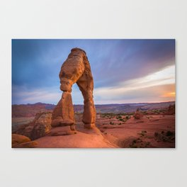 Golden Arch - Delicate Arch at Sunset in Utah Canvas Print