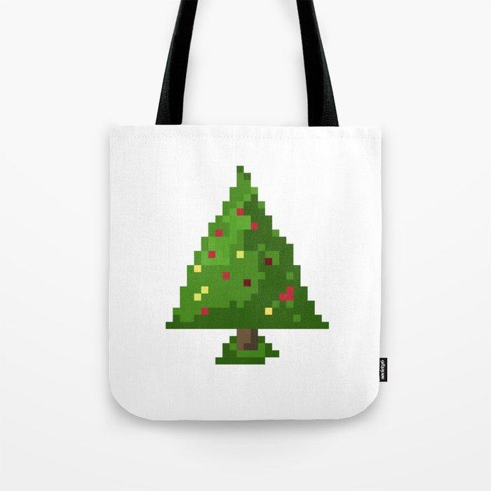 Geek Pixel 8bit Christmas Tree Tote Bag