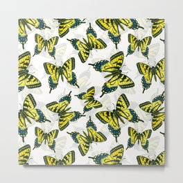 Tiger swallowtail butterfly watercolor pattern Metal Print