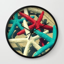 Patriotic Starfish Wall Clock