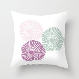 Three Flowers in Lavender, Pink and Sage Throw Pillow