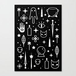 Spirit Symbols Black Canvas Print
