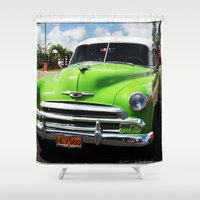 cuba Shower Curtains featuring Cuba green by frenchtoy