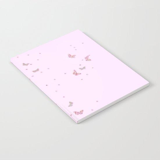Butterflies diamonds and glitter II- Pink Glitter butterfly pattern Notebook