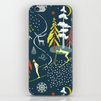 skiing iPhone & iPod Skins featuring Retro Skiing  by beach please