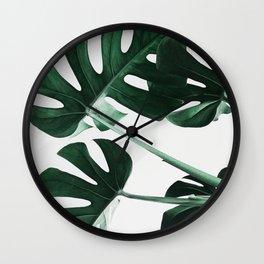 Monstera, Leaves, Plant, Green, Scandinavian, Minimal, Modern, Wall art Wall Clock