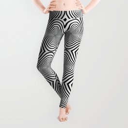 op art - black and white twisty tunnel Leggings