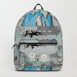 Arctic animals grey Backpack