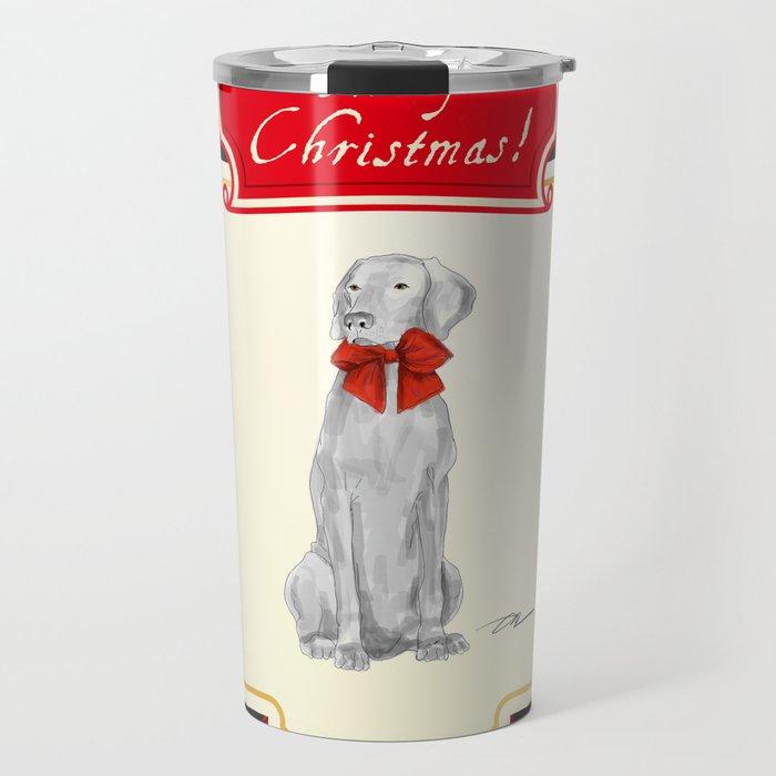 CHRISTMAS TUCKER WITH A RED BOW Travel Mug