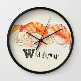 W is for Wild shrimp Wall Clock
