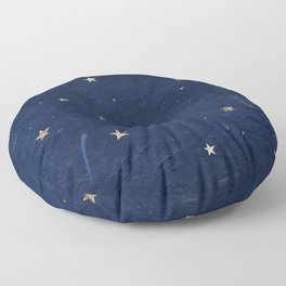 Good night - Leaf Gold Stars on Dark Blue Background Floor Pillow