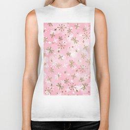pink watercolor gold white snowflakes christmas pattern Biker Tank