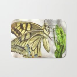 Butterfly Watercolor Bath Mat