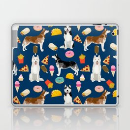 Husky siberian huskies junk food cute dog art sweet treat dogs pet portrait pattern Laptop & iPad Skin