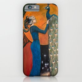 Origin of Inspiration // Peacock Painting Woman Portrait Art Nouveau Bird Stars Goddess Feather iPhone Case