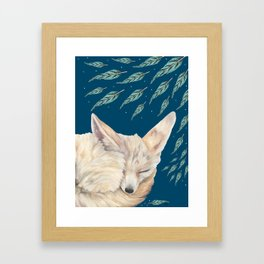 Fennec Fox Feather Dreams in Turquoise Framed Art Print