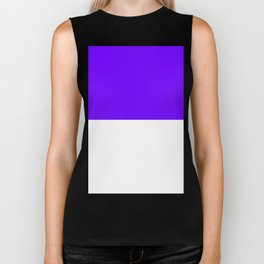 White and Indigo Violet Horizontal Halves Biker Tank