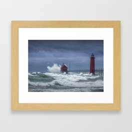 Flying Gull in a November Storm on Lake Michigan by the Grand Haven Lighthouse No.195 Fine Art Light Framed Art Print
