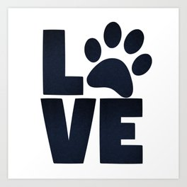 Love Pets Paw Cat Dog Cute Art Print