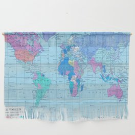 Bright World Map Wall Hanging
