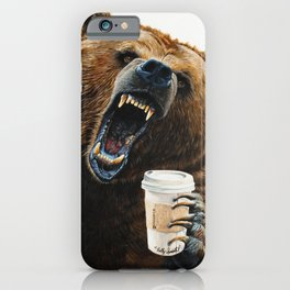 """"""" Grizzly Mornings """" give that bear some coffee iPhone Case"""