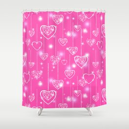 Openwork hearts on a bright pink background Shower Curtain
