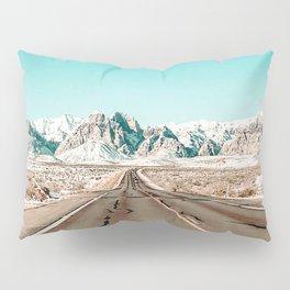 Vintage Desert Road // Winter Storm Red Rock Canyon Las Vegas Nature Scenery View Pillow Sham