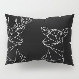Geometric Stag and Doe (White on Black) Pillow Sham