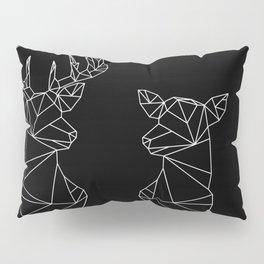 Geometric Stag and Doe (White on Black) Pillow Sham