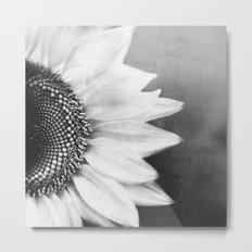 B&W Sunflower Metal Print