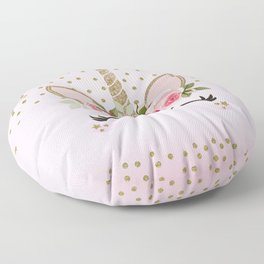 Pink & Gold Floral Unicorn Face Floor Pillow