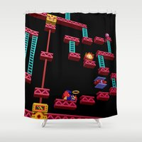 donkey kong Shower Curtains featuring Inside Donkey Kong stage 3 by Metin Seven