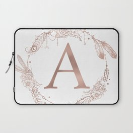 Letter A Rose Gold Pink Initial Monogram Laptop Sleeve