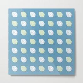 White Poplar Tree Leaf Pattern Metal Print