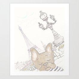 French Bulldog Photobomb in Paris with Eiffel Tower Art Print