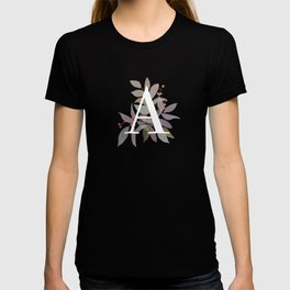 Fall Floral Monogram A - Rustic Alphabet Typography T-shirt