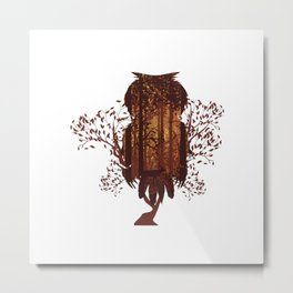 Autumn forest with owl Metal Print