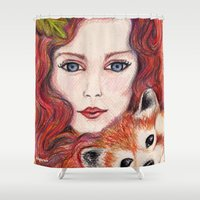red panda Shower Curtains featuring Red panda by Pendientera