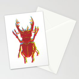 Stag Beetle Tricolore lino cut Stationery Cards