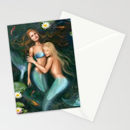 Beautiful fantasy princess mermaids in lake with lilies underwater background Stationery Cards