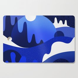 Terrazzo landscape blue night Cutting Board