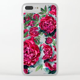 Watercolor Peony Pattern Clear iPhone Case
