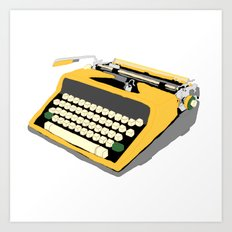 Yellow Typewriter Art Print