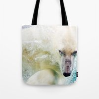 polar bear Tote Bags featuring Polar Bear by Pati Designs