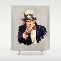 sam smith Shower Curtains featuring Uncle Sam by ArtSchool