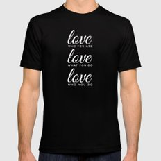love who love do MEDIUM Black Mens Fitted Tee